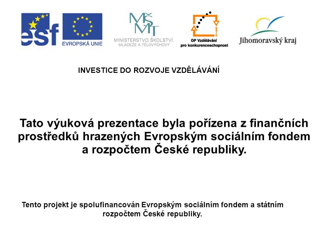 INVESTICE DO ROZVOJE VZDĚLÁVÁNÍ Tento projekt je spolufinancován Evropským sociálním fondem a státním rozpočtem České republiky. Tato výuková prezenta