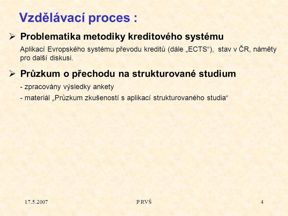 """17.5.2007P RVŠ4  Problematika metodiky kreditového systému Aplikací Evropského systému převodu kreditů (dále """"ECTS ), stav v ČR, náměty pro další diskusi."""