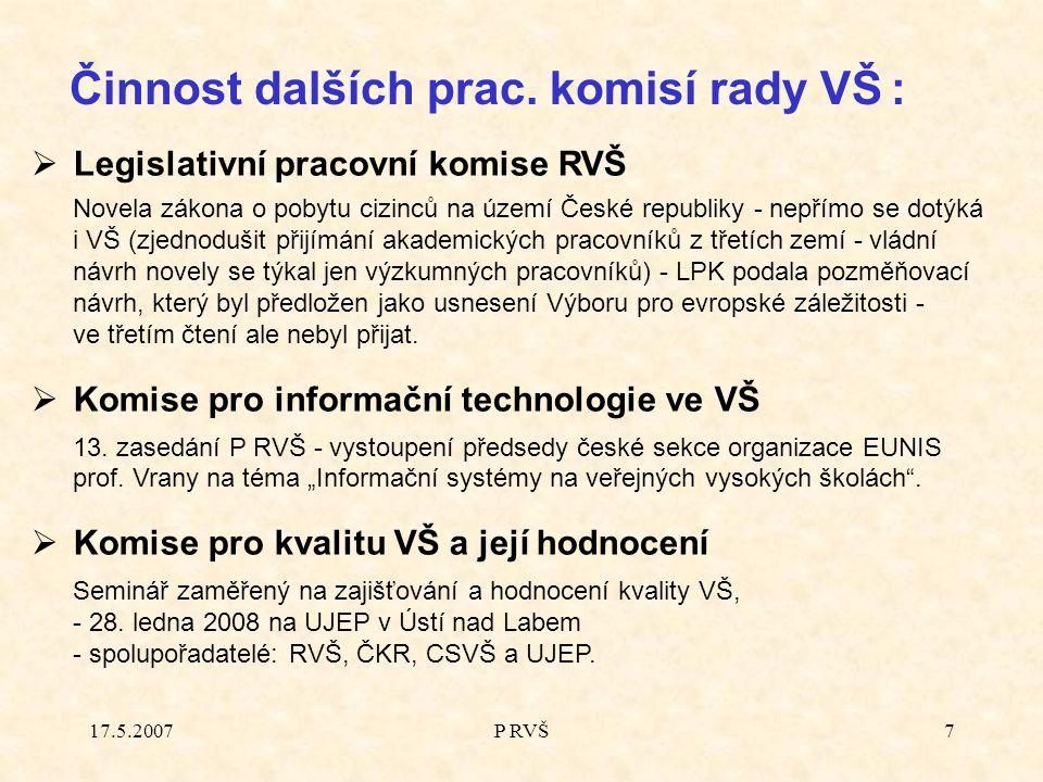17.5.2007P RVŠ7 Činnost dalších prac.