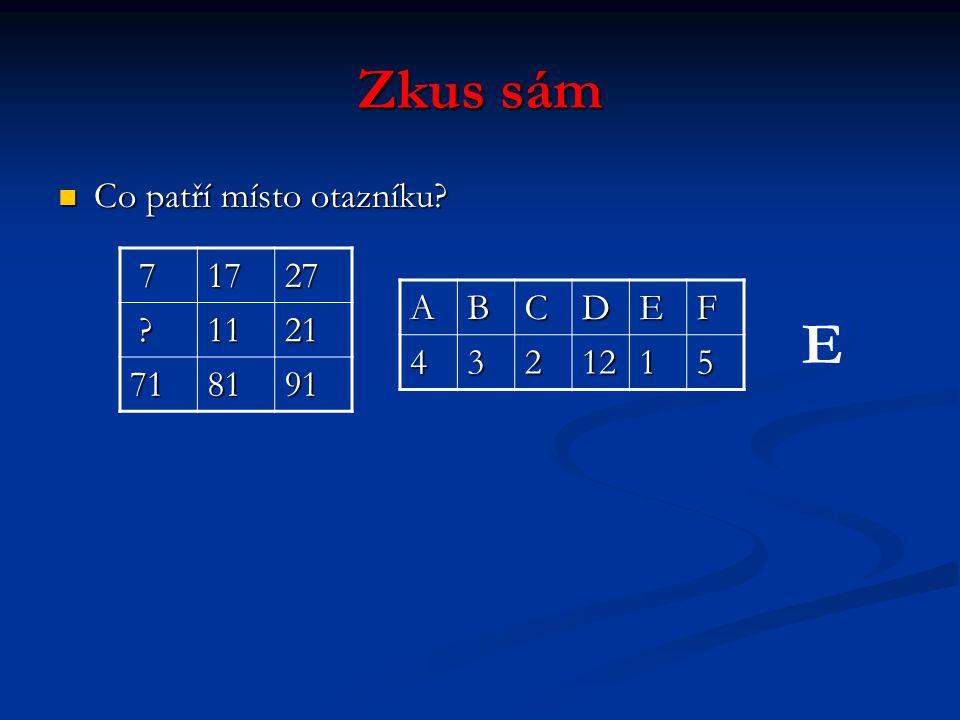 Zkus sám Co patří místo otazníku Co patří místo otazníku 71727 1121 718191 ABCDEF4321215 E