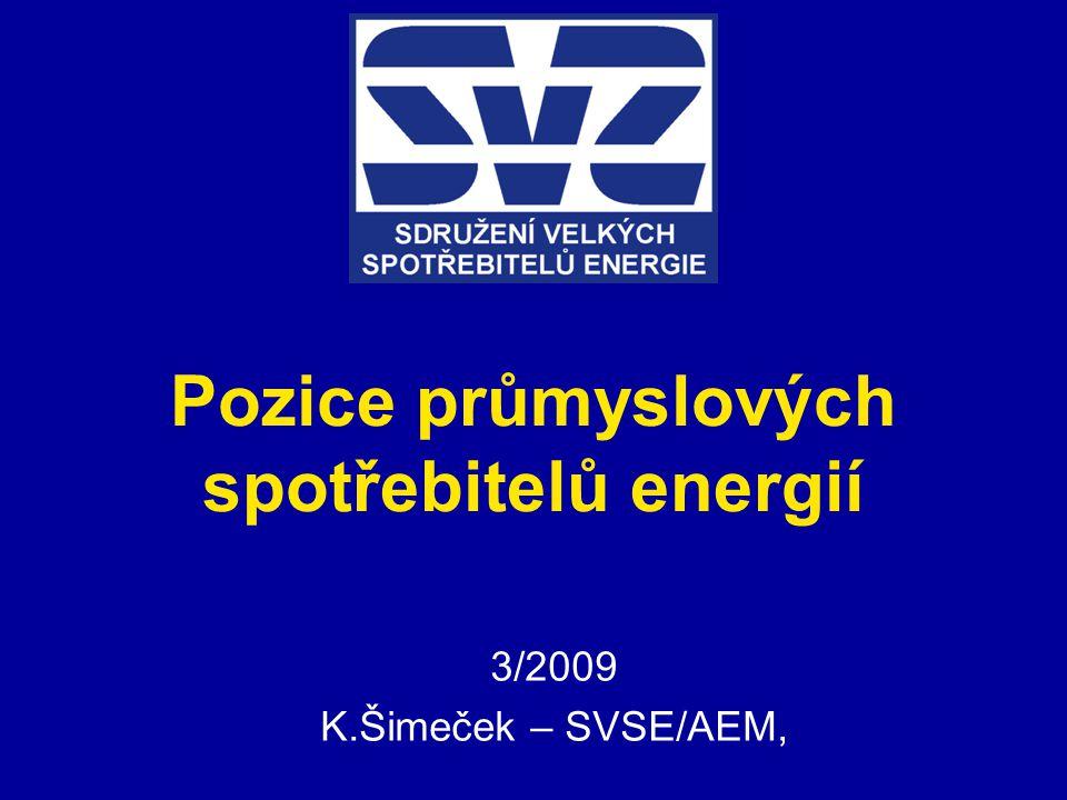 Pozice průmyslových spotřebitelů energií 3/2009 K.Šimeček – SVSE/AEM,