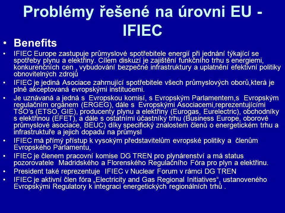Problémy řešené na úrovni EU - IFIEC Benefits IFIEC Europe zastupuje průmyslové spotřebitele energií při jednání týkající se spotřeby plynu a elektřin