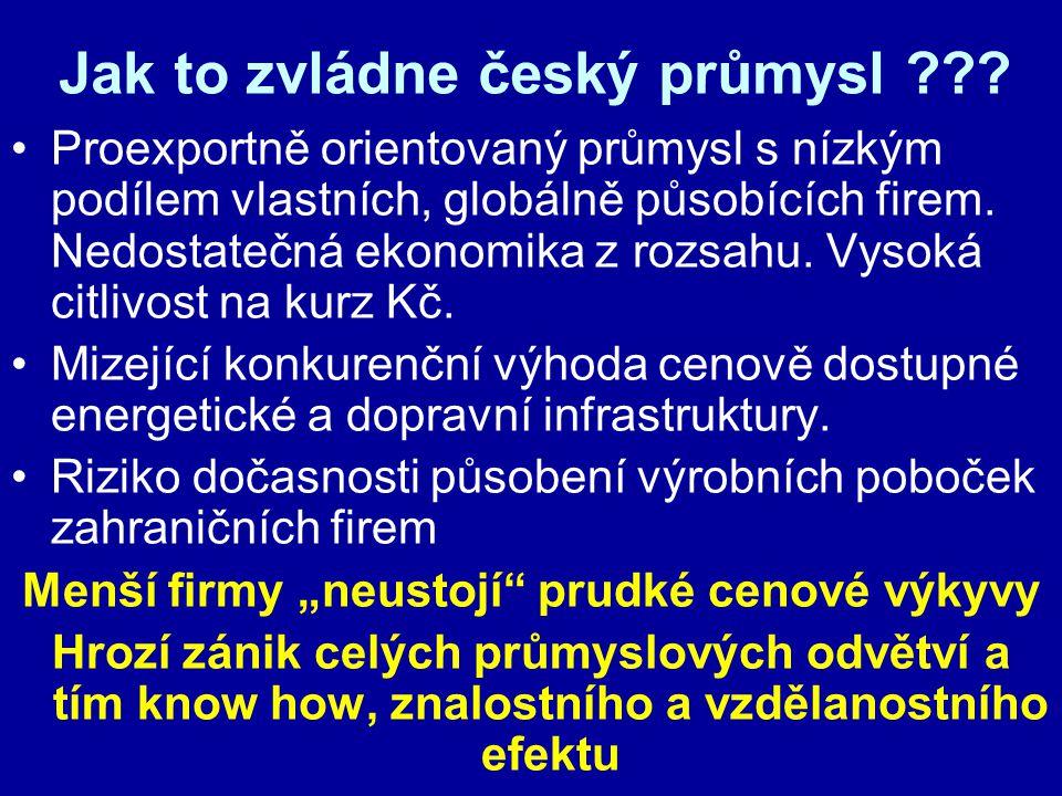 Jak to zvládne český průmysl ??? Proexportně orientovaný průmysl s nízkým podílem vlastních, globálně působících firem. Nedostatečná ekonomika z rozsa