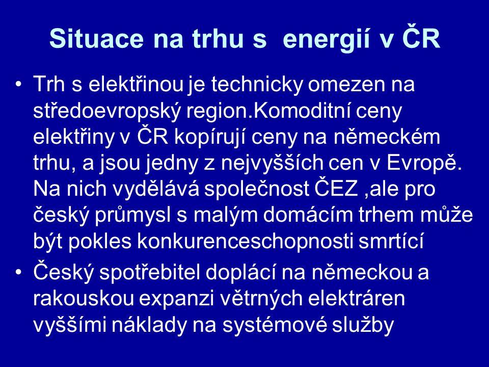 Situace na trhu s energií v ČR Trh s elektřinou je technicky omezen na středoevropský region.Komoditní ceny elektřiny v ČR kopírují ceny na německém trhu, a jsou jedny z nejvyšších cen v Evropě.