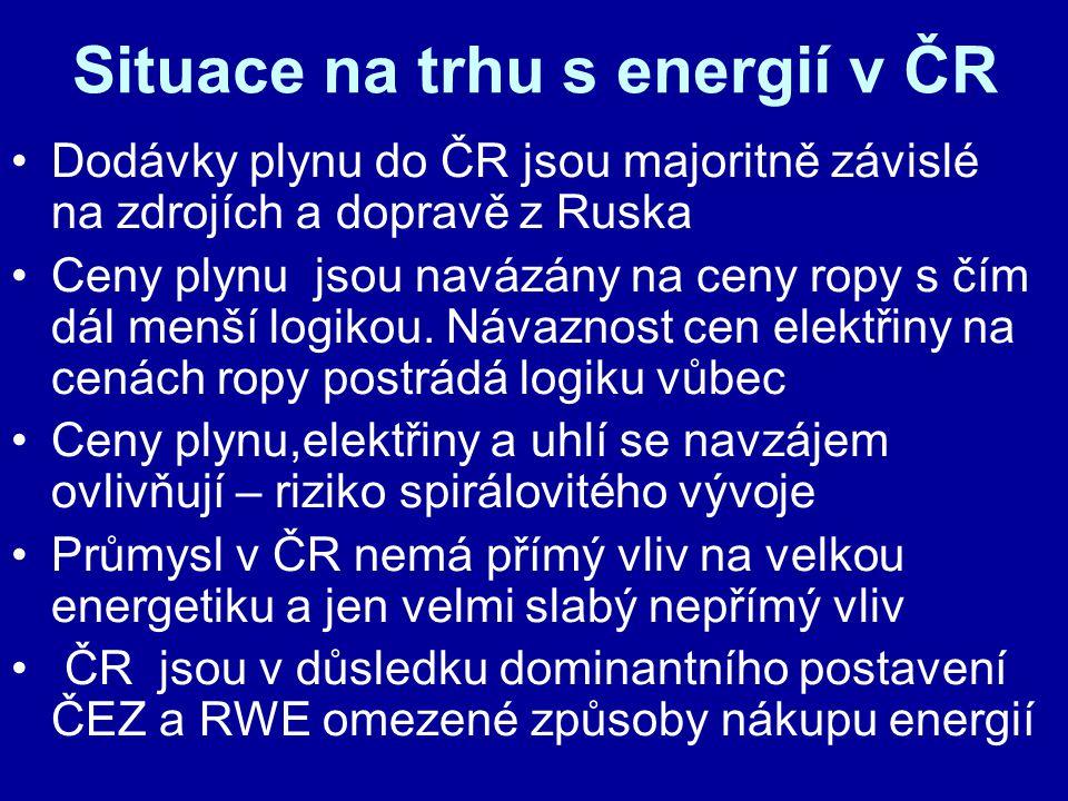 Situace na trhu s energií v ČR Dodávky plynu do ČR jsou majoritně závislé na zdrojích a dopravě z Ruska Ceny plynu jsou navázány na ceny ropy s čím dá