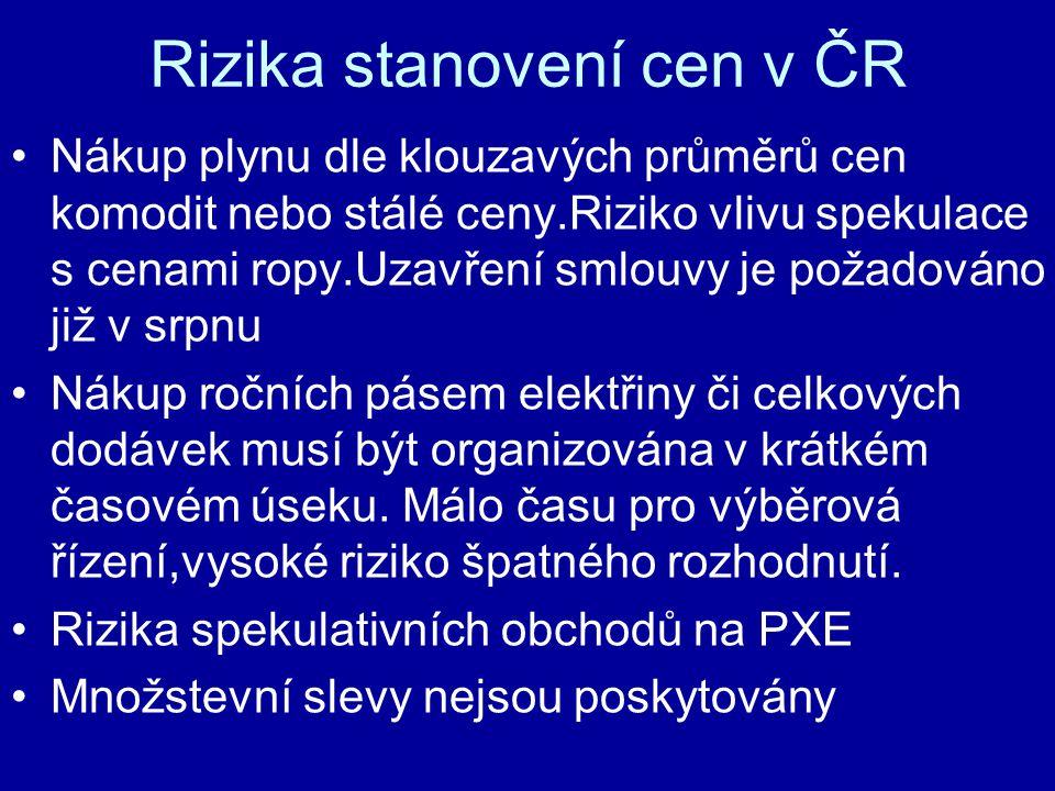 Rizika stanovení cen v ČR Nákup plynu dle klouzavých průměrů cen komodit nebo stálé ceny.Riziko vlivu spekulace s cenami ropy.Uzavření smlouvy je požadováno již v srpnu Nákup ročních pásem elektřiny či celkových dodávek musí být organizována v krátkém časovém úseku.