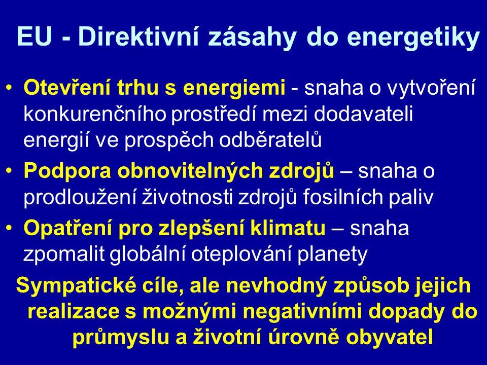 EU - Direktivní zásahy do energetiky Otevření trhu s energiemi - snaha o vytvoření konkurenčního prostředí mezi dodavateli energií ve prospěch odběrat