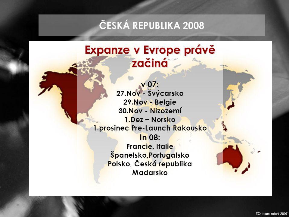 ČESKÁ REPUBLIKA 2008 Expanze v Evrope právě začiná v 07: 27.Nov - Švýcarsko 29.Nov - Belgie 30.Nov - Nizozemí 1.Dez – Norsko 1.prosinec Pre-Launch Rakousko In 08: Francie, Italie Španelsko,Portugalsko Polsko, Česká republika Madarsko © X-team-reichl-2007