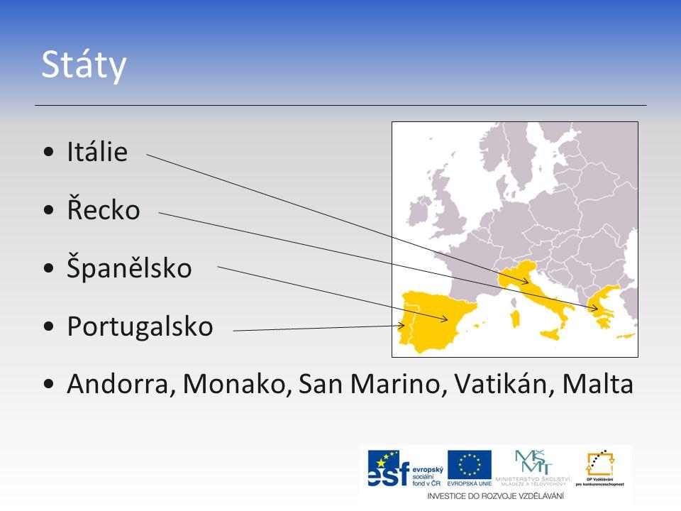 Státy Itálie Řecko Španělsko Portugalsko Andorra, Monako, San Marino, Vatikán, Malta