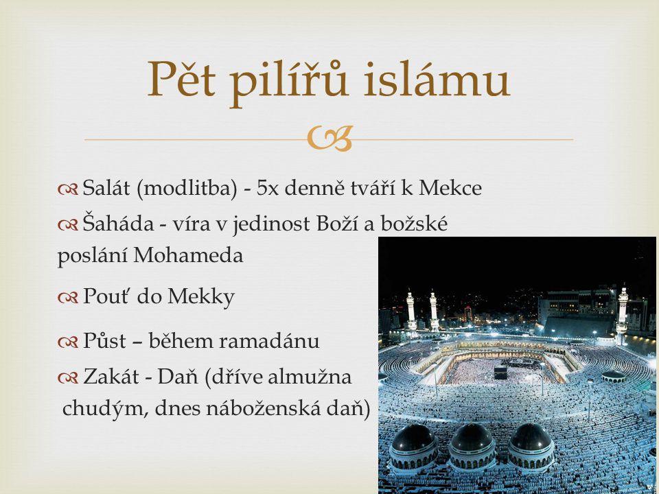  Salát (modlitba) - 5x denně tváří k Mekce  Šaháda - víra v jedinost Boží a božské poslání Mohameda  Pouť do Mekky  Půst – během ramadánu  Zakát - Daň (dříve almužna chudým, dnes náboženská daň) Pět pilířů islámu