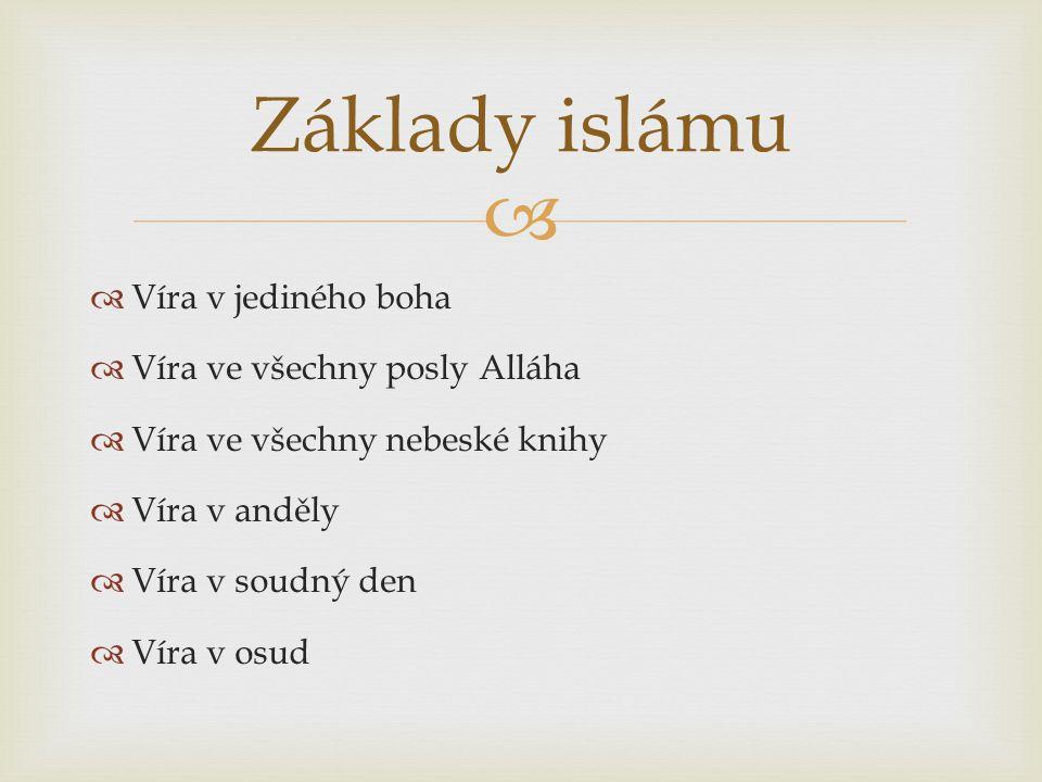   Víra v jediného boha  Víra ve všechny posly Alláha  Víra ve všechny nebeské knihy  Víra v anděly  Víra v soudný den  Víra v osud Základy islámu