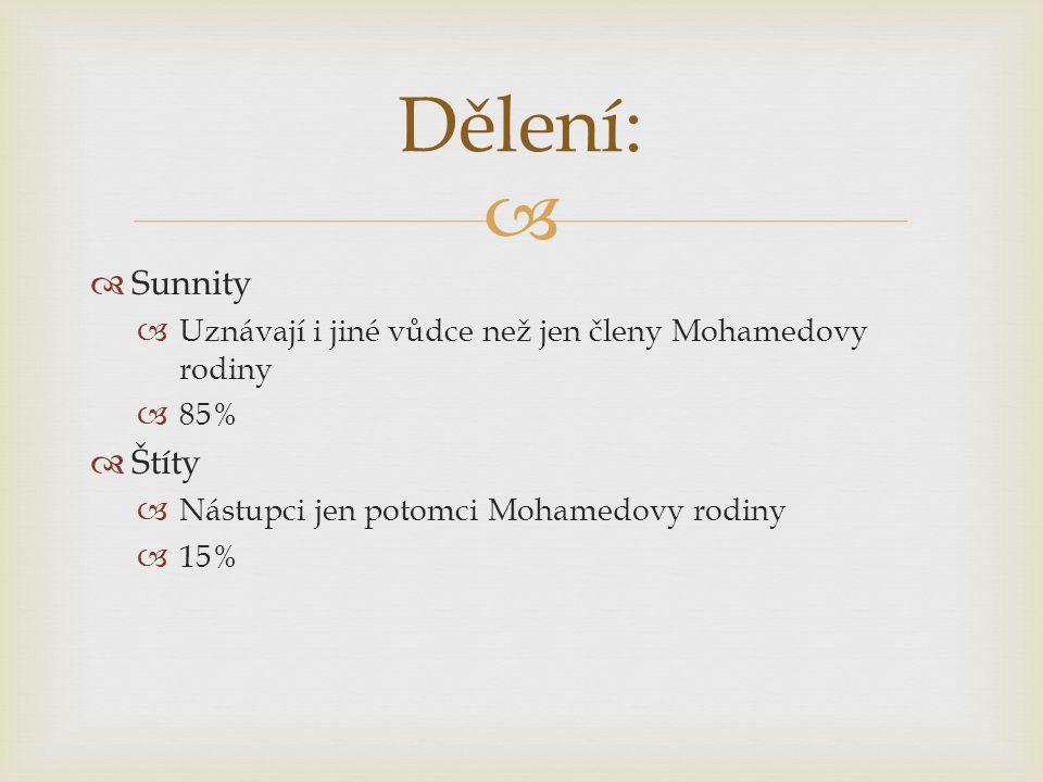   Sunnity  Uznávají i jiné vůdce než jen členy Mohamedovy rodiny  85%  Štíty  Nástupci jen potomci Mohamedovy rodiny  15% Dělení: