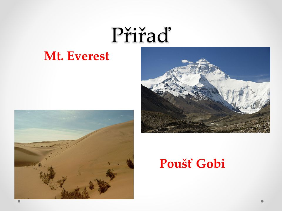 Přiřaď Mt. Everest Poušť Gobi