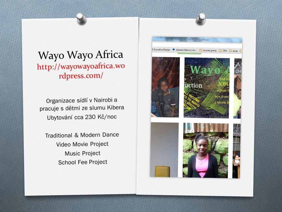 Wayo Wayo Africa http://wayowayoafrica.wo rdpress.com/ Organizace sídlí v Nairobi a pracuje s d ě tmi ze slumu Kibera Ubytování cca 230 K č /noc Tradi
