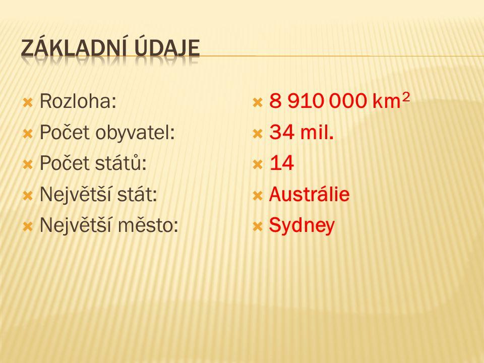  Rozloha:  Počet obyvatel:  Počet států:  Největší stát:  Největší město:  8 910 000 km 2  34 mil.