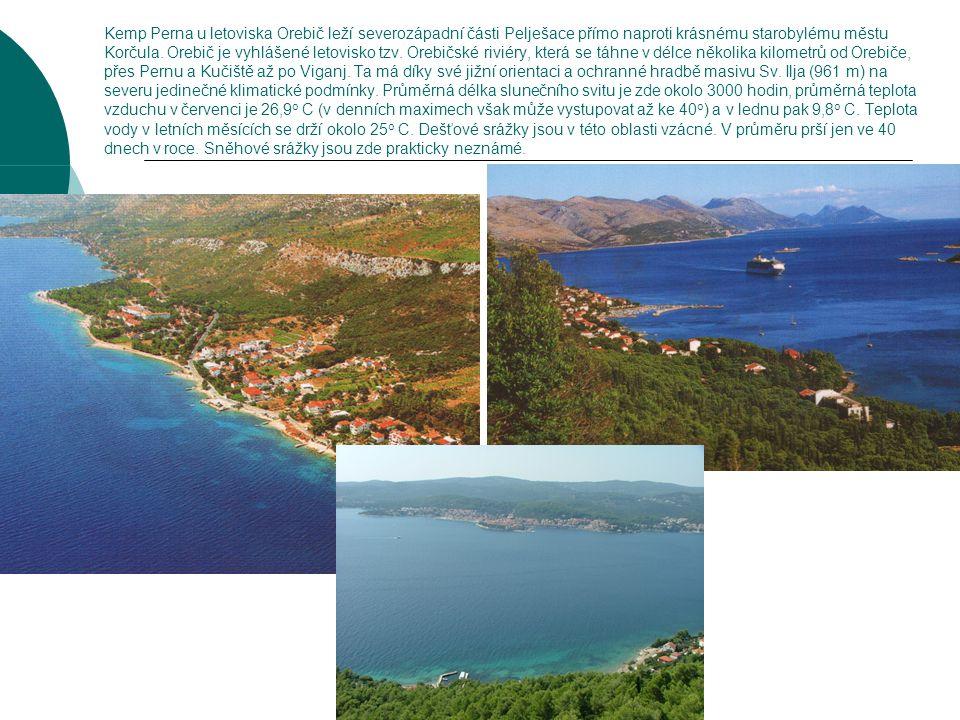 Kemp Perna u letoviska Orebič leží severozápadní části Pelješace přímo naproti krásnému starobylému městu Korčula. Orebič je vyhlášené letovisko tzv.