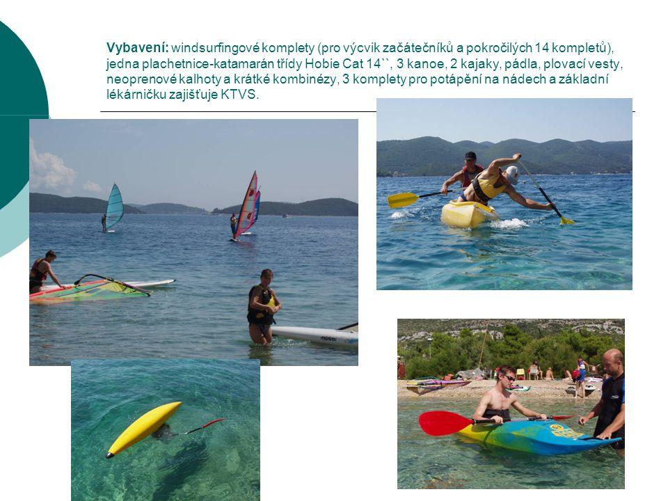 Vybavení: windsurfingové komplety (pro výcvik začátečníků a pokročilých 14 kompletů), jedna plachetnice-katamarán třídy Hobie Cat 14``, 3 kanoe, 2 kajaky, pádla, plovací vesty, neoprenové kalhoty a krátké kombinézy, 3 komplety pro potápění na nádech a základní lékárničku zajišťuje KTVS.