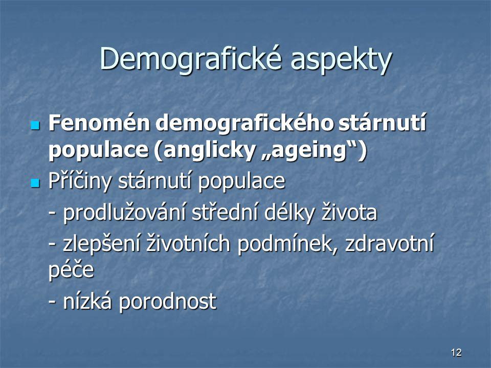 """12 Demografické aspekty Fenomén demografického stárnutí populace (anglicky """"ageing"""") Fenomén demografického stárnutí populace (anglicky """"ageing"""") Příč"""