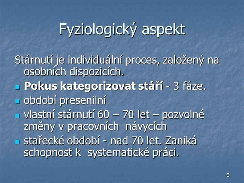5 Fyziologický aspekt Stárnutí je individuální proces, založený na osobních dispozicích.