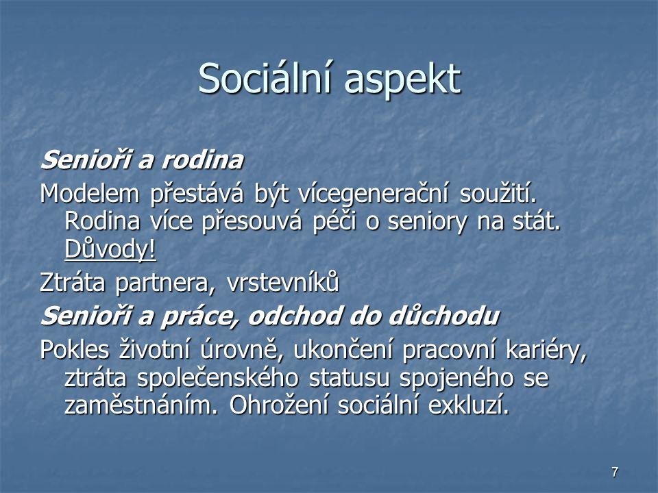 7 Sociální aspekt Senioři a rodina Modelem přestává být vícegenerační soužití.