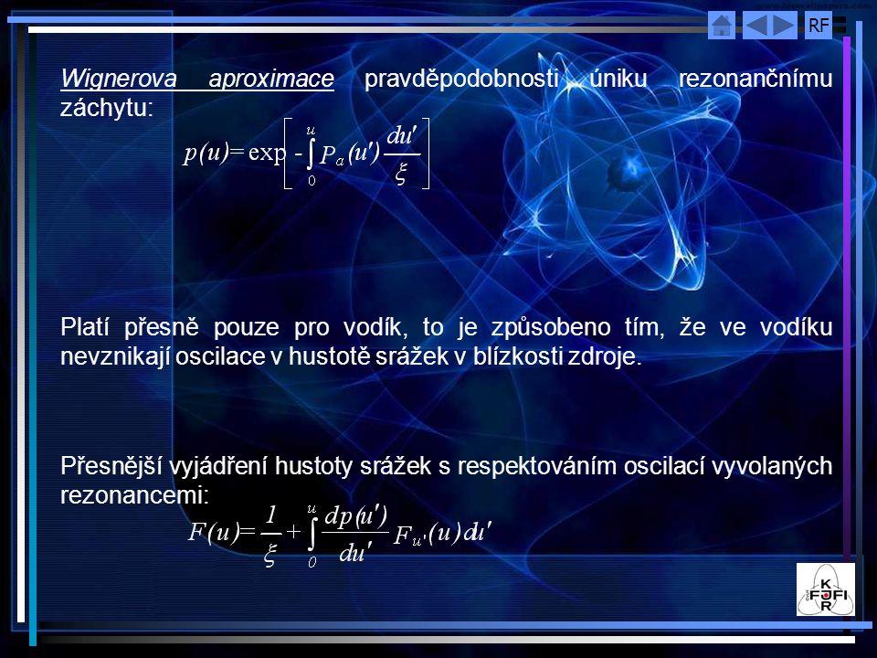RF Wignerova aproximace pravděpodobnosti úniku rezonančnímu záchytu: Platí přesně pouze pro vodík, to je způsobeno tím, že ve vodíku nevznikají oscila