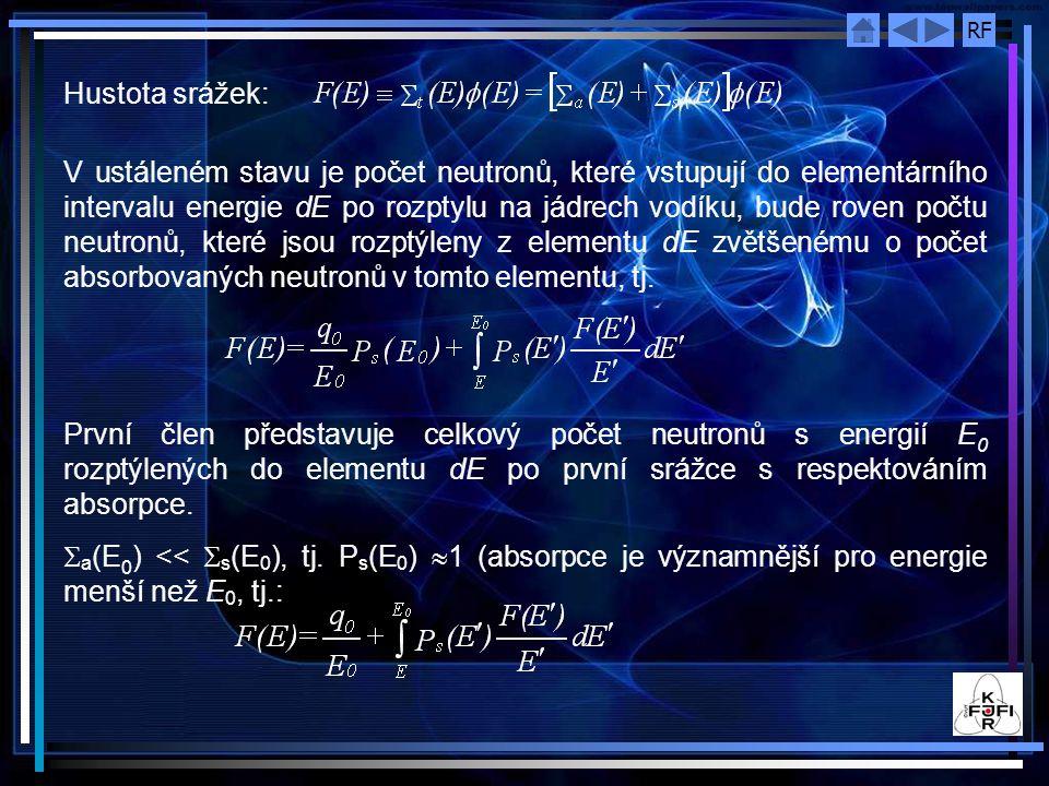 RF Hustota srážek: V ustáleném stavu je počet neutronů, které vstupují do elementárního intervalu energie dE po rozptylu na jádrech vodíku, bude roven počtu neutronů, které jsou rozptýleny z elementu dE zvětšenému o počet absorbovaných neutronů v tomto elementu, tj.