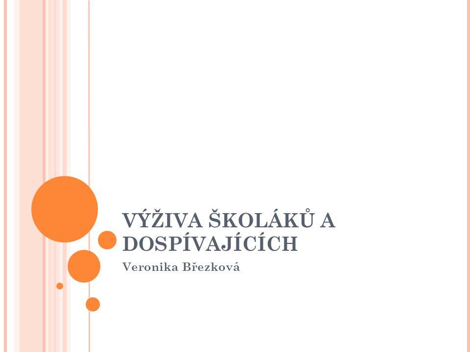 VÝŽIVA ŠKOLÁKŮ A DOSPÍVAJÍCÍCH Veronika Březková