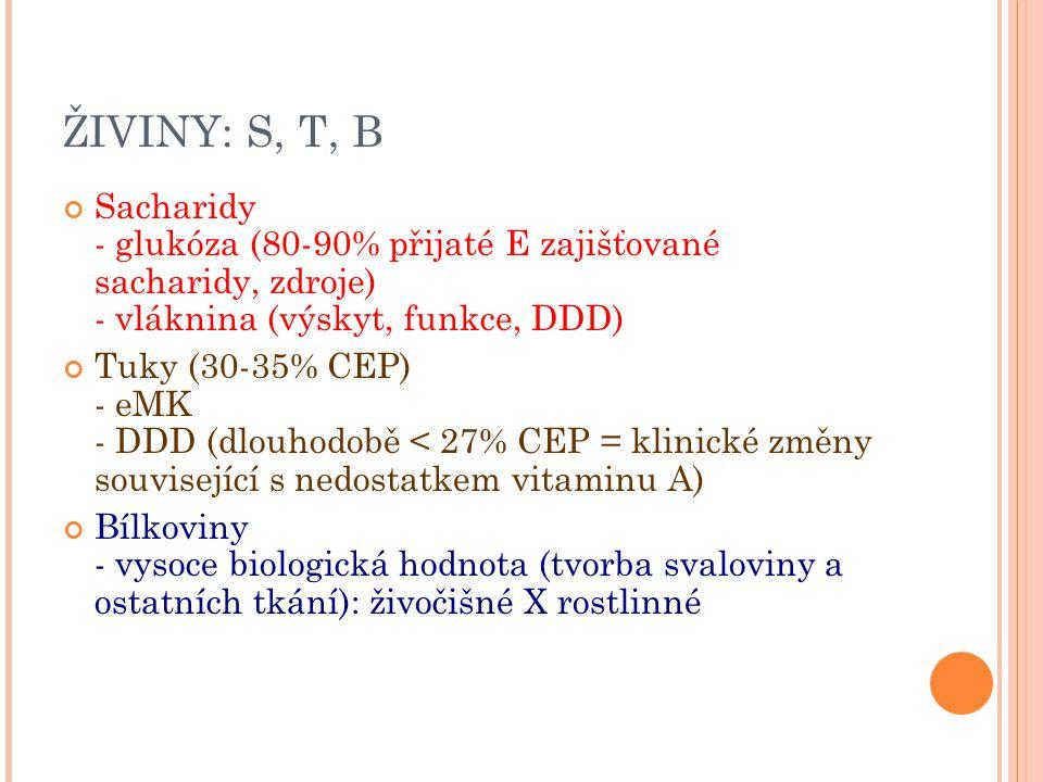 ŽIVINY: S, T, B Sacharidy - glukóza (80-90% přijaté E zajišťované sacharidy, zdroje) - vláknina (výskyt, funkce, DDD) Tuky (30-35% CEP) - eMK - DDD (d
