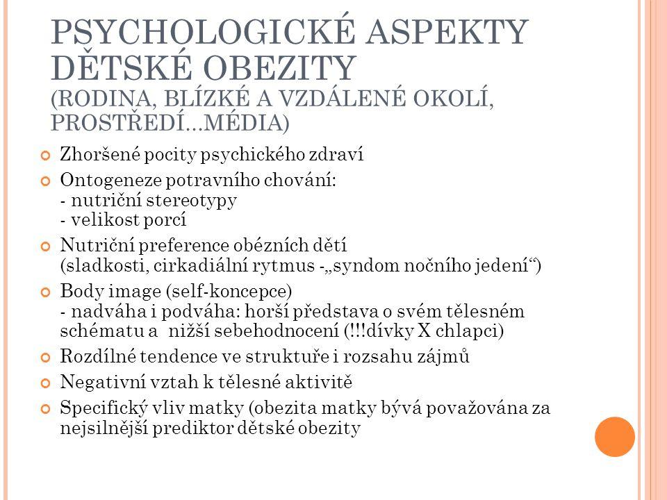PSYCHOLOGICKÉ ASPEKTY DĚTSKÉ OBEZITY (RODINA, BLÍZKÉ A VZDÁLENÉ OKOLÍ, PROSTŘEDÍ...MÉDIA) Zhoršené pocity psychického zdraví Ontogeneze potravního cho