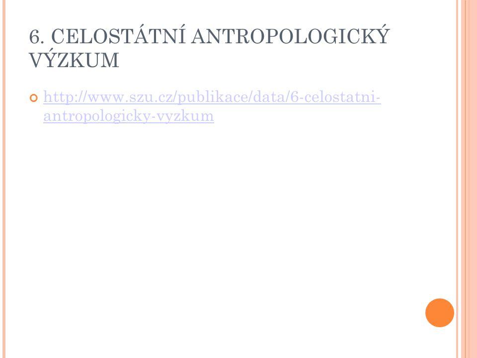 6. CELOSTÁTNÍ ANTROPOLOGICKÝ VÝZKUM http://www.szu.cz/publikace/data/6-celostatni- antropologicky-vyzkum