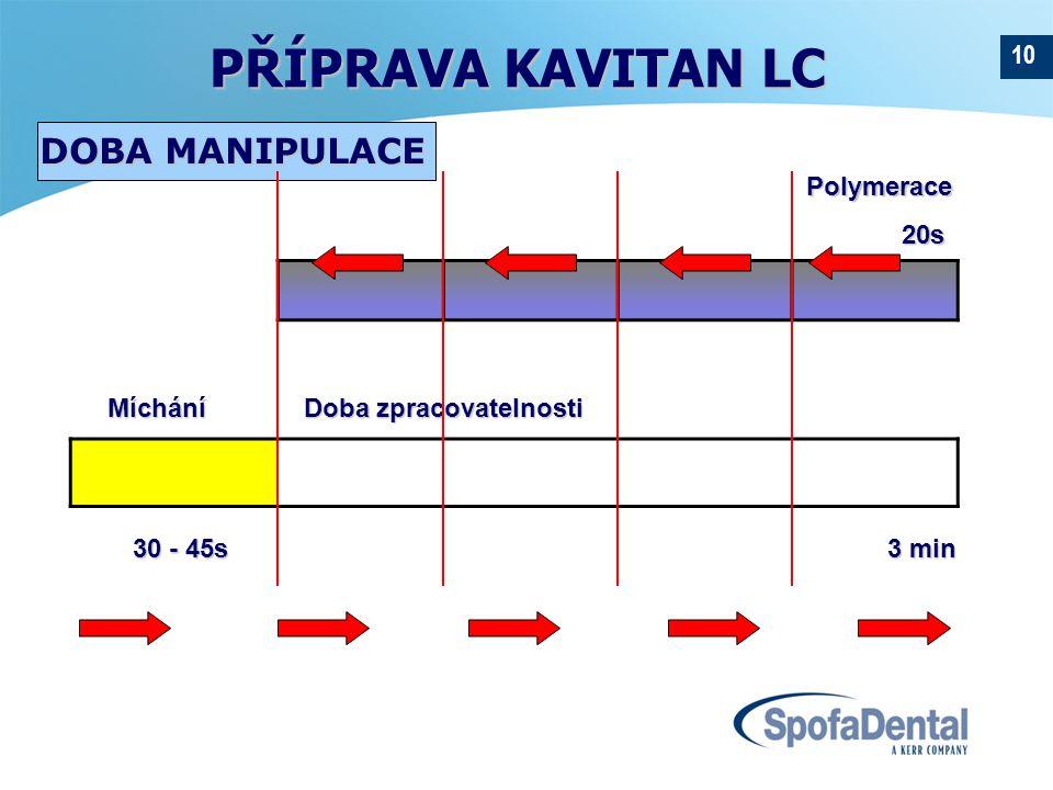 10 30 - 45s 3 min Míchání Doba zpracovatelnosti Míchání Doba zpracovatelnosti DOBA MANIPULACE Polymerace Polymerace 20s 20s PŘÍPRAVA KAVITAN LC