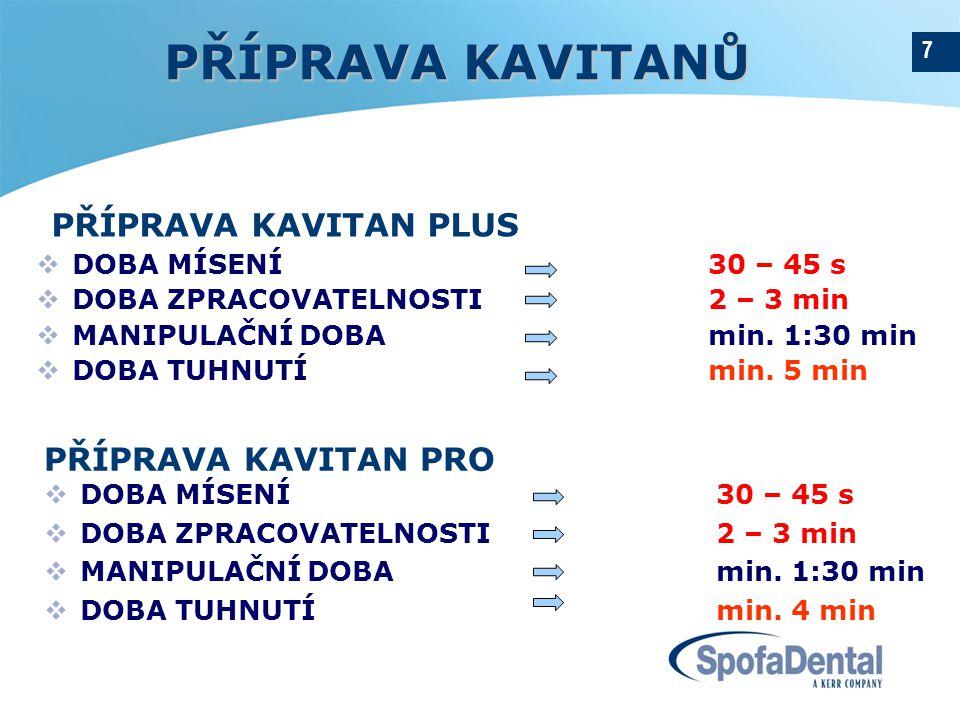 7 PŘÍPRAVA KAVITAN PLUS  DOBA MÍSENÍ 30 – 45 s  DOBA ZPRACOVATELNOSTI 2 – 3 min  MANIPULAČNÍ DOBAmin.