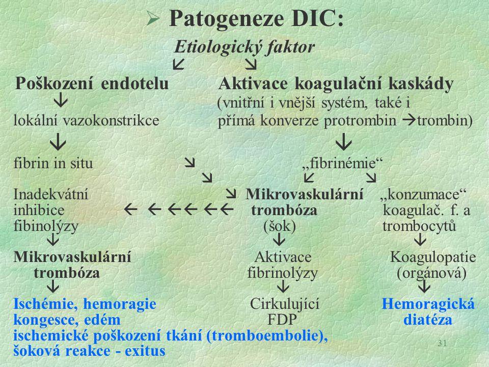 """31  Patogeneze DIC: Etiologický faktor   Poškození endotelu Aktivace koagulační kaskády  (vnitřní i vnější systém, také i lokální vazokonstrikce přímá konverze protrombin  trombin)  fibrin in situ  """"fibrinémie    Inadekvátní  Mikrovaskulární """"konzumace inhibice     trombóza koagulač."""