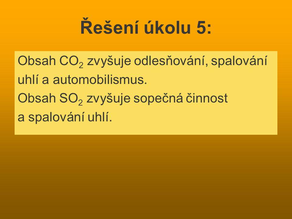 Řešení úkolu 5: Obsah CO 2 zvyšuje odlesňování, spalování uhlí a automobilismus. Obsah SO 2 zvyšuje sopečná činnost a spalování uhlí.