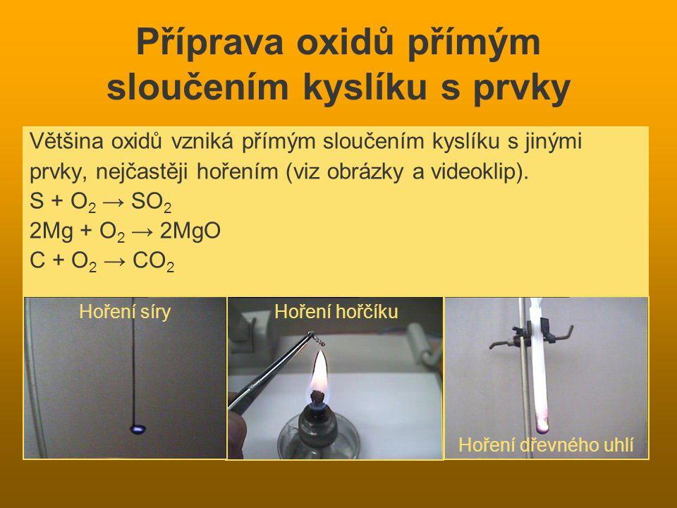 Příprava oxidů přímým sloučením kyslíku s prvky Většina oxidů vzniká přímým sloučením kyslíku s jinými prvky, nejčastěji hořením (viz obrázky a videoklip).
