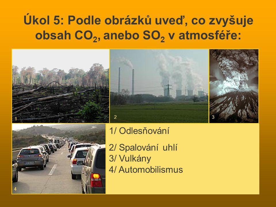 Úkol 5: Podle obrázků uveď, co zvyšuje obsah CO 2, anebo SO 2 v atmosféře: 1/ Odlesňování 2/ Spalování uhlí 3/ Vulkány 4/ Automobilismus 1 23 4