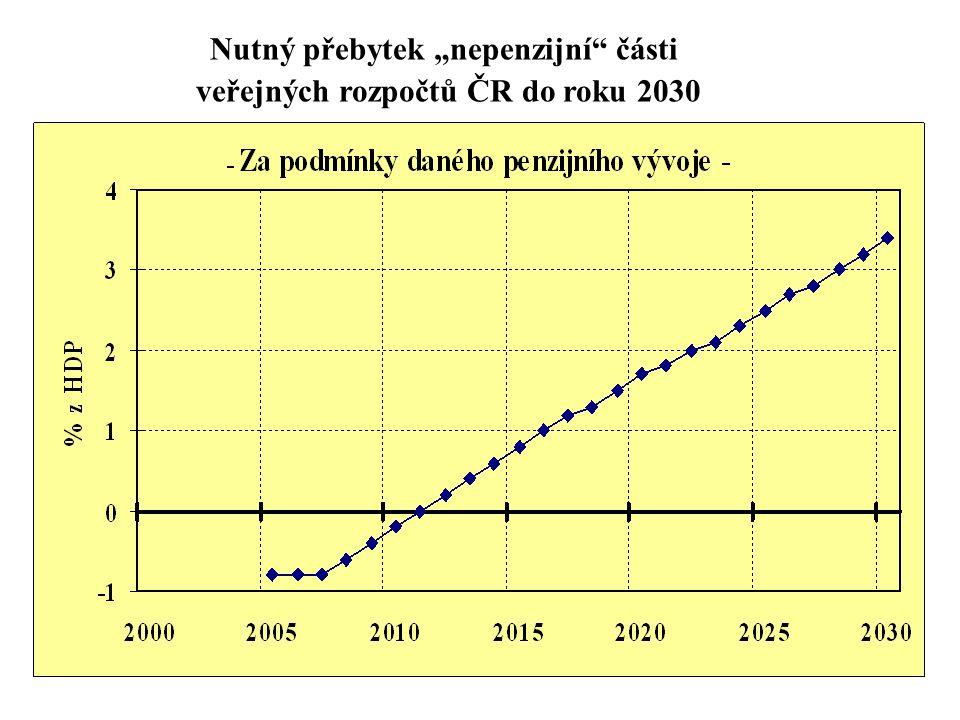 """Nutný přebytek """"nepenzijní"""" části veřejných rozpočtů ČR do roku 2030"""