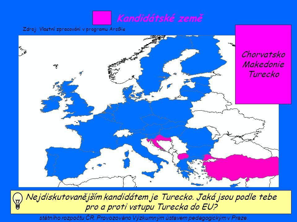Kandidátské země Chorvatsko Makedonie Turecko Nejdiskutovanějším kandidátem je Turecko. Jaká jsou podle tebe pro a proti vstupu Turecka do EU? Zdroj: