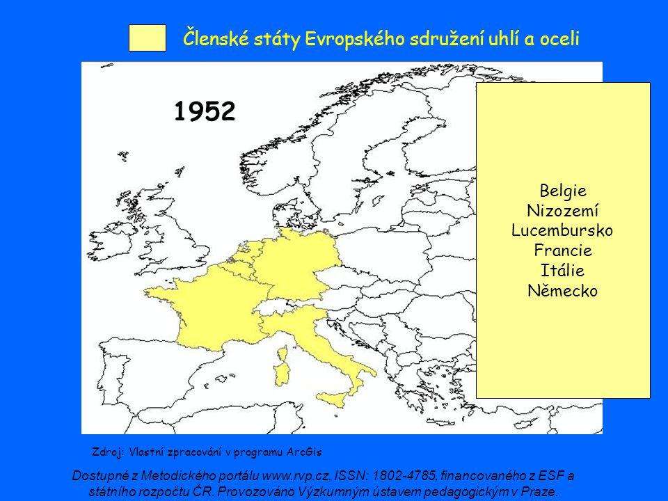 Členské státy Evropského sdružení uhlí a oceli 1952 Zdroj: Vlastní zpracování v programu ArcGis Belgie Nizozemí Lucembursko Francie Itálie Německo Dos