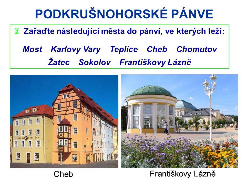 PODKRUŠNOHORSKÉ PÁNVE  Zařaďte následující města do pánví, ve kterých leží: Most Karlovy Vary Teplice Cheb Chomutov Žatec Sokolov Františkovy Lázně Cheb Františkovy Lázně