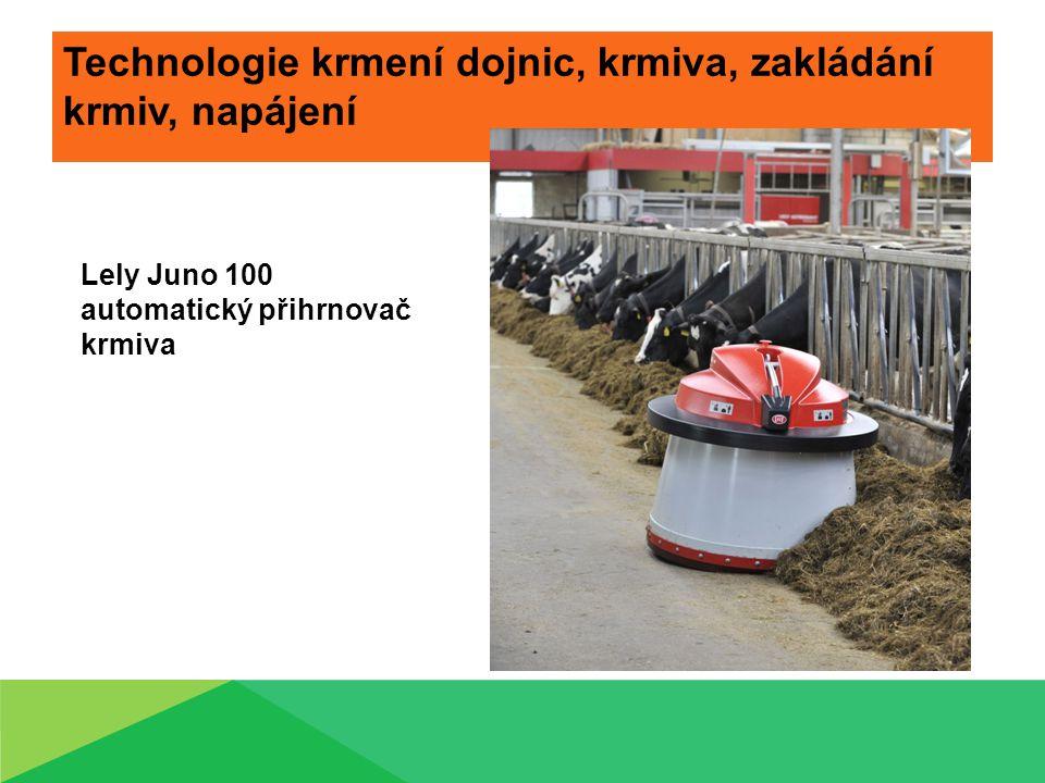 Technologie krmení dojnic, krmiva, zakládání krmiv, napájení Lely Juno 100 automatický přihrnovač krmiva