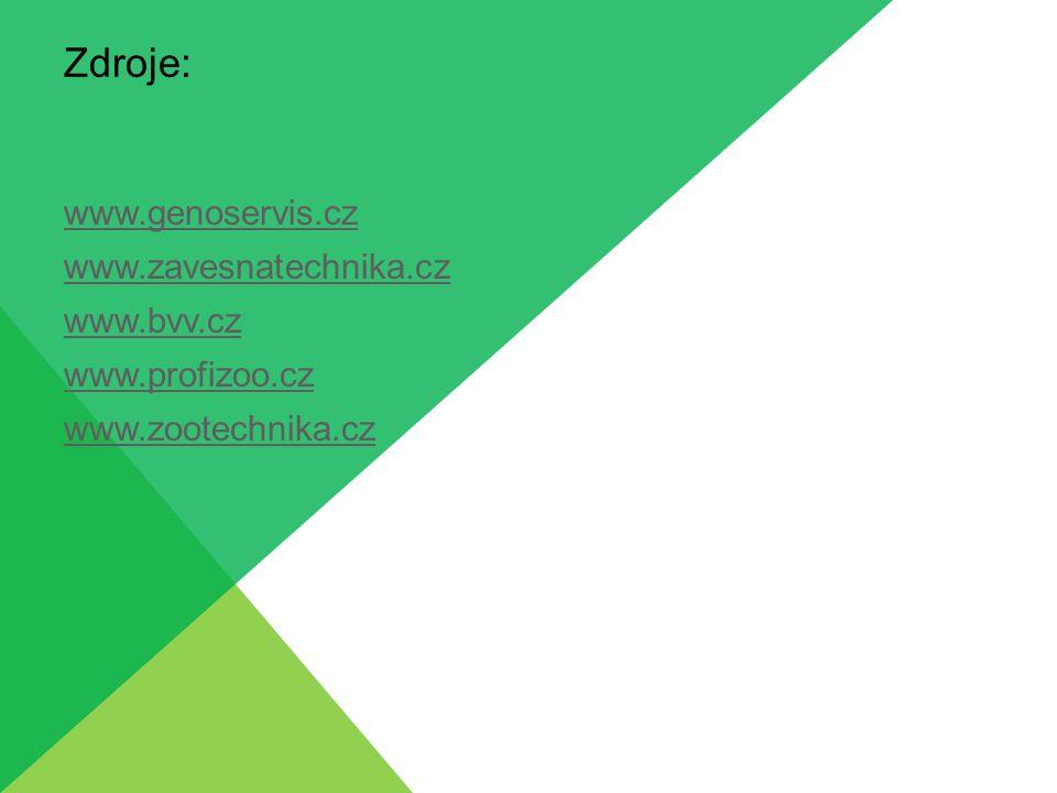 Zdroje: www.genoservis.cz www.zavesnatechnika.cz www.bvv.cz www.profizoo.cz www.zootechnika.cz