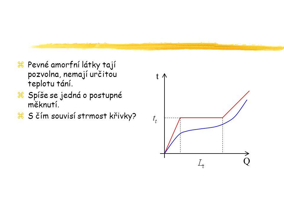zPevné amorfní látky tají pozvolna, nemají určitou teplotu tání.