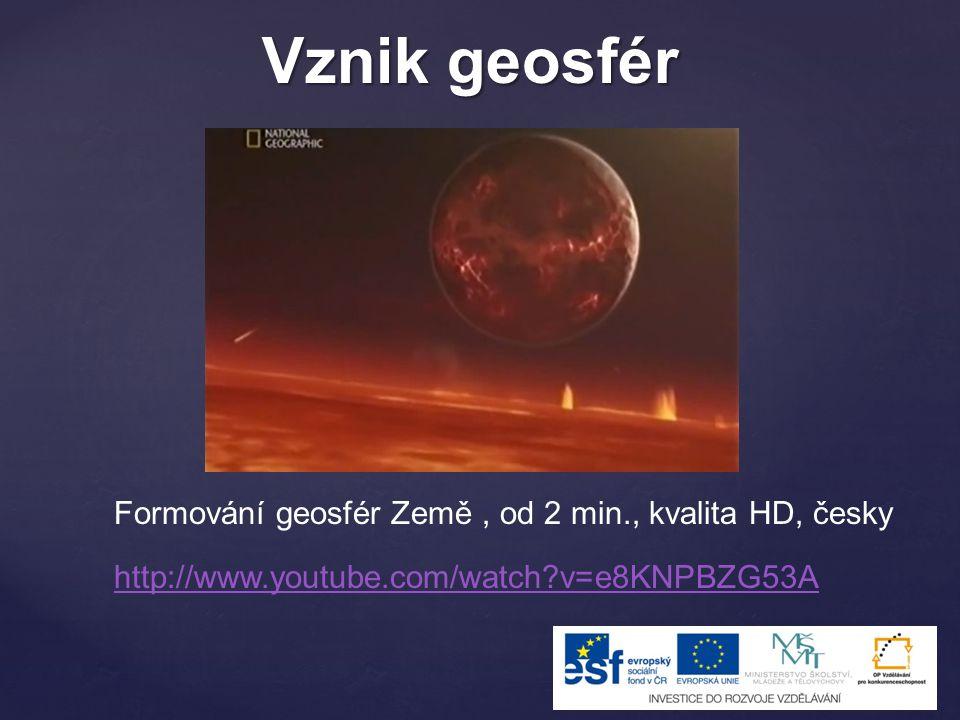 http://www.youtube.com/watch?v=e8KNPBZG53A Formování geosfér Země, od 2 min., kvalita HD, česky Vznik geosfér
