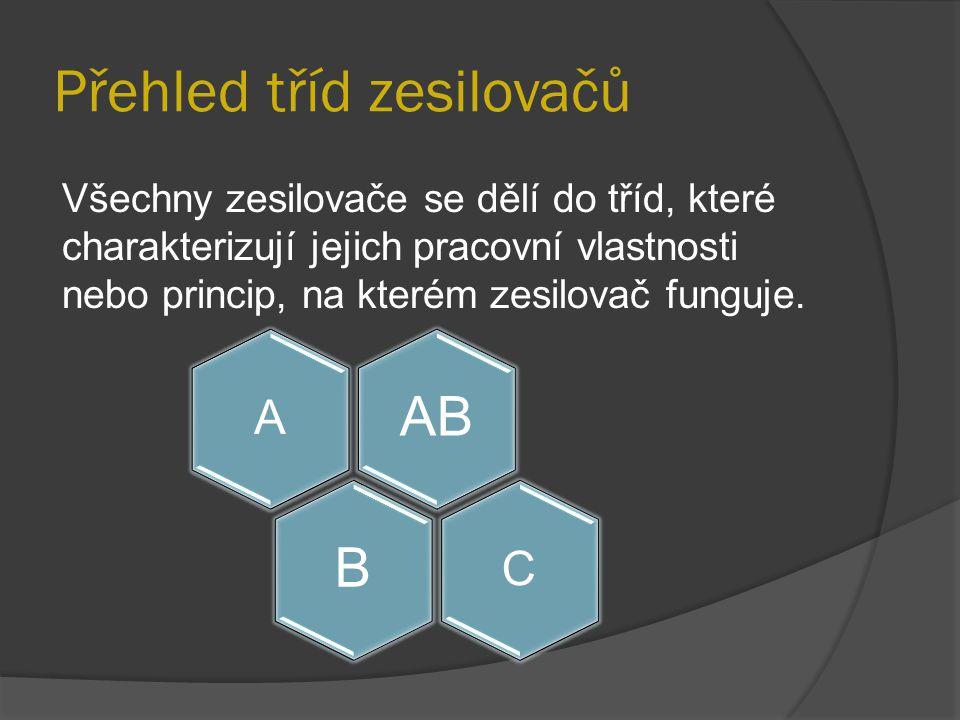 Přehled tříd zesilovačů Všechny zesilovače se dělí do tříd, které charakterizují jejich pracovní vlastnosti nebo princip, na kterém zesilovač funguje.