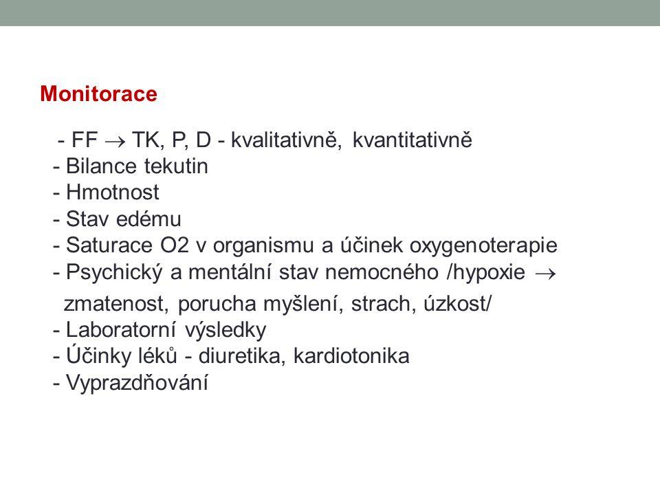 Monitorace - FF  TK, P, D - kvalitativně, kvantitativně - Bilance tekutin - Hmotnost - Stav edému - Saturace O2 v organismu a účinek oxygenoterapie -