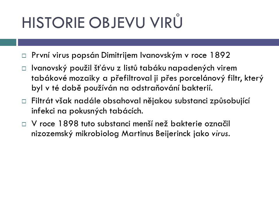 HISTORIE OBJEVU VIRŮ  První virus popsán Dimitrijem Ivanovským v roce 1892  Ivanovský použil šťávu z listů tabáku napadených virem tabákové mozaiky