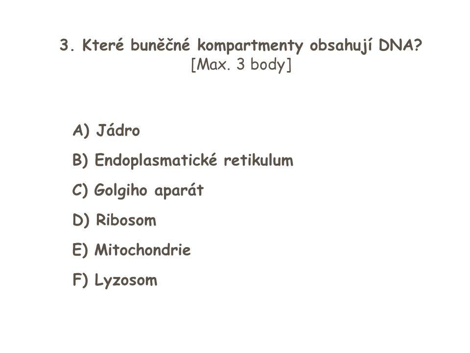 3. Které buněčné kompartmenty obsahují DNA? [Max. 3 body] A) Jádro B) Endoplasmatické retikulum C) Golgiho aparát D) Ribosom E) Mitochondrie F) Lyzoso