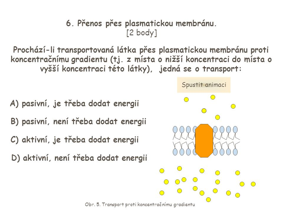 6. Přenos přes plasmatickou membránu. [2 body] Prochází-li transportovaná látka přes plasmatickou membránu proti koncentračnímu gradientu (tj. z místa