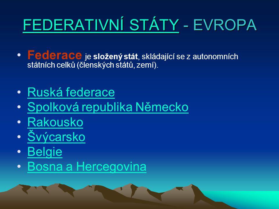 RUSKÁ FEDERACE RUSKÁ FEDERACE 21 republik 47 oblastí, 8 krajů, 1 autonomní oblast, 6 autonomních okruhů, 2 federální města
